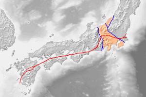 九州地方~関東地方の地質構造図 出典:ウィキメディア・コモンズ