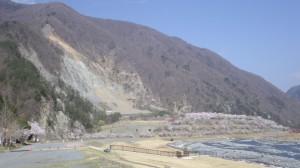 大鹿村 土砂崩れの跡地 2014年4月19日