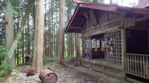 御柱は周りの木々にとけ込み、わかりにくい。右が神社の堂