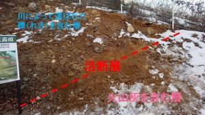 十二天露頭では火山灰が含まれる層の上に礫層がのし上がっている(駒ケ根市・田切断層)