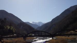 160317旧小渋橋と赤石岳