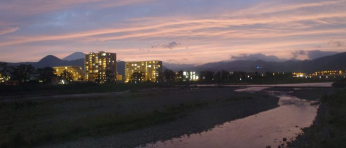 夕焼けの酒匂川 2015年6月27日撮影